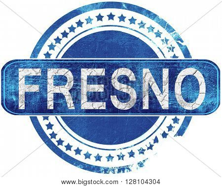 fresno grunge blue stamp. Isolated on white.