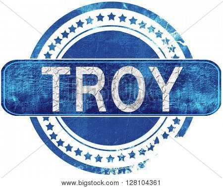 troy grunge blue stamp. Isolated on white.