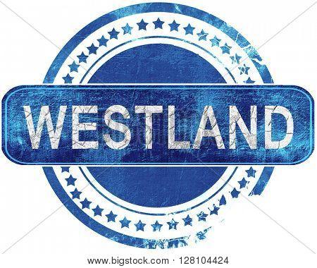westland grunge blue stamp. Isolated on white.