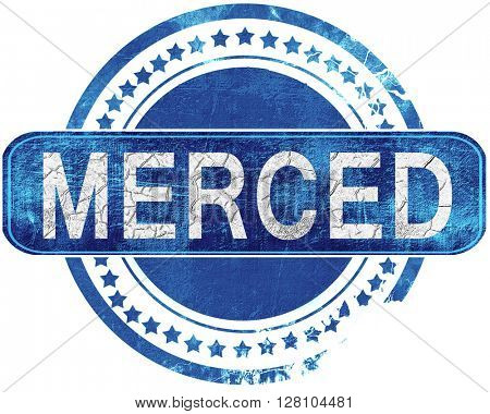 merced grunge blue stamp. Isolated on white.