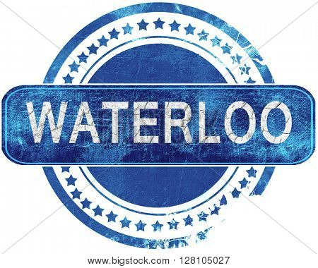 waterloo grunge blue stamp. Isolated on white.