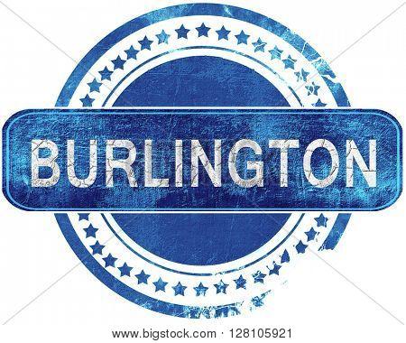 burlington grunge blue stamp. Isolated on white.