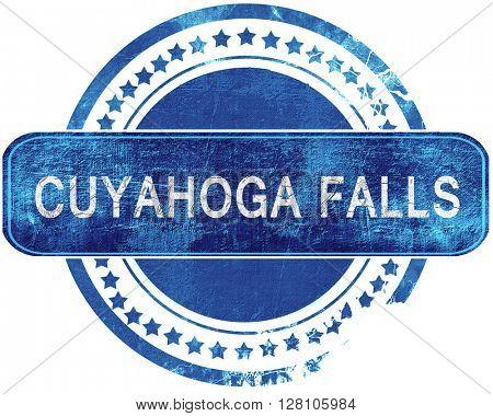 cuyahoga grunge blue stamp. Isolated on white.