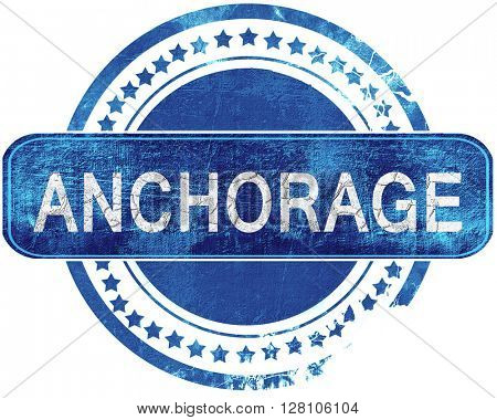 anchorage grunge blue stamp. Isolated on white.
