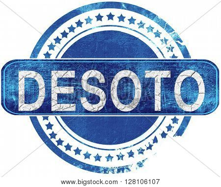 desoto grunge blue stamp. Isolated on white.