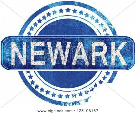 newark grunge blue stamp. Isolated on white.