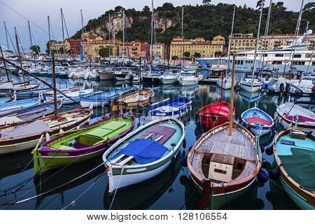 Colorful boats in Nice. Nice French Riviera France.