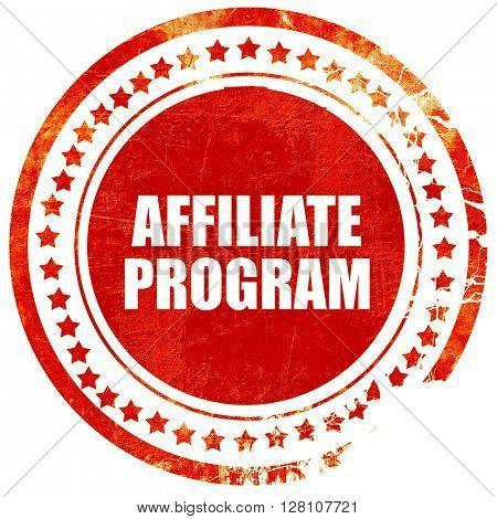 affiliate program, red grunge stamp on solid background