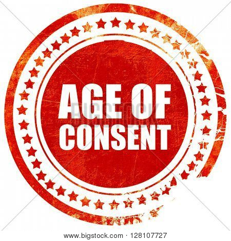 age of consent, red grunge stamp on solid background