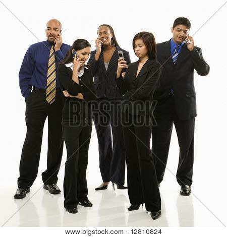 Multi-ethnic business group of men and women standing talking on cell phones.