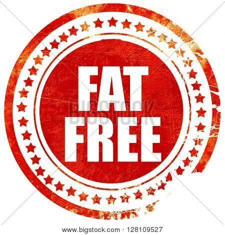 fat free, red grunge stamp on solid background