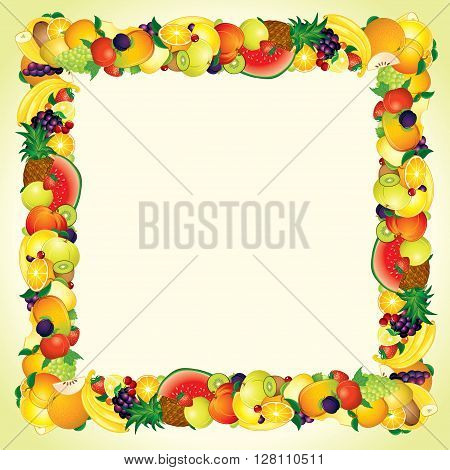 Colorful Fresh Fruits Border Design. Ready for Your Text and Design.