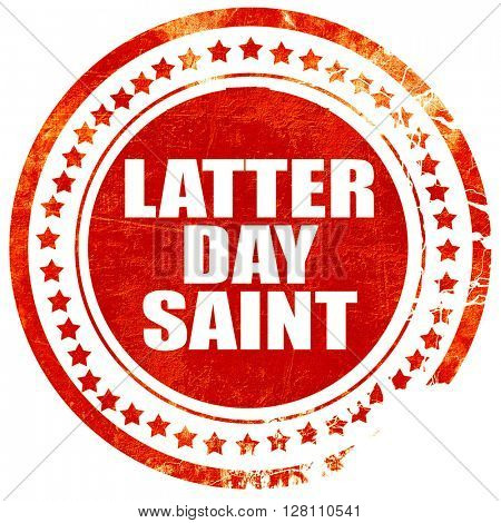 latter day saint, red grunge stamp on solid background