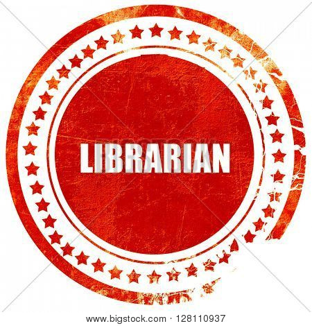 librarian, red grunge stamp on solid background