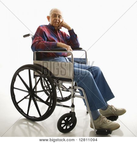 Portrait of Caucasion elderly man sitting in wheelchair.