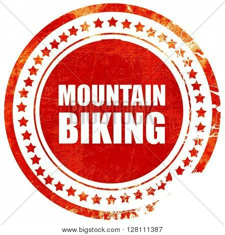 moutain biking, red grunge stamp on solid background