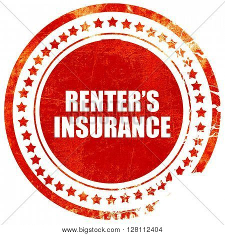 renter's insurance, red grunge stamp on solid background