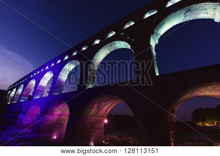 Pont du Gard at night. Vers-Pont-du-Gard Gard France.
