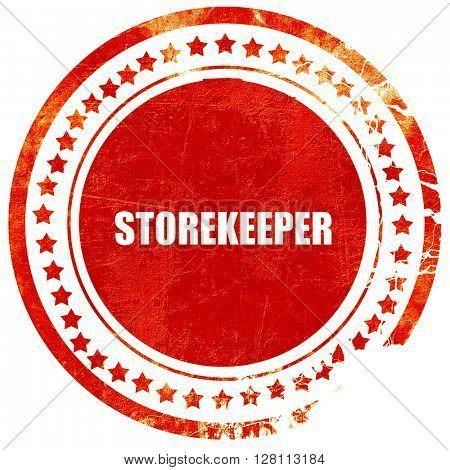 storekeeper, red grunge stamp on solid background
