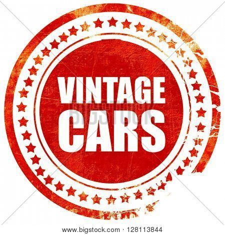 vintage cars, red grunge stamp on solid background