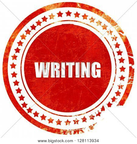 writing, red grunge stamp on solid background