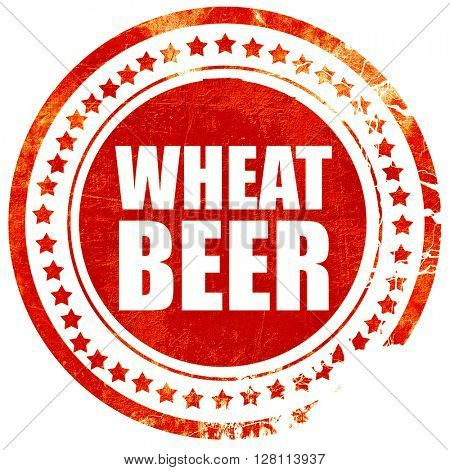 wheat beer, red grunge stamp on solid background