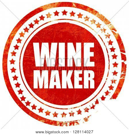 wine maker, red grunge stamp on solid background