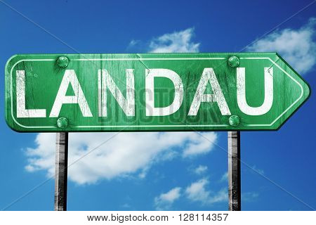 Landau road sign, 3D rendering, vintage green with clouds backgr