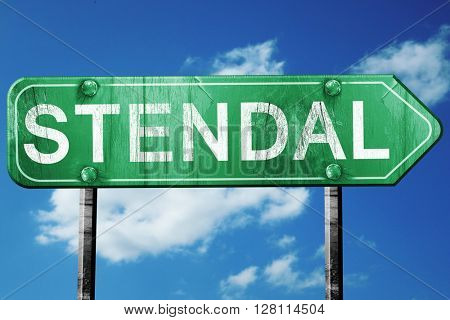 Stendal road sign, 3D rendering, vintage green with clouds backg