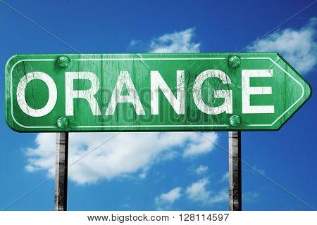 orange road sign, 3D rendering, vintage green with clouds backgr