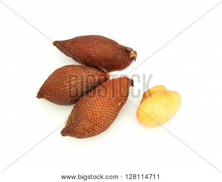 Ripe fruit of the litchi isolated on white background