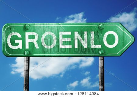 Groenlo road sign, 3D rendering, vintage green with clouds backg