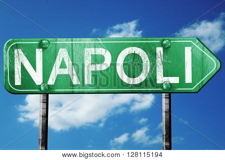 Napoli road sign, 3D rendering, vintage green with clouds backgr