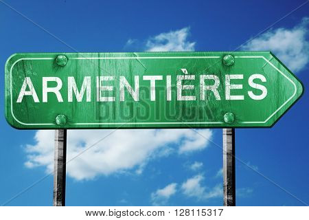 armentieres road sign, 3D rendering, vintage green with clouds b