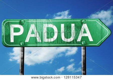 Padua road sign, 3D rendering, vintage green with clouds backgro