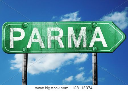 Parma road sign, 3D rendering, vintage green with clouds backgro