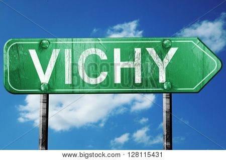 vichy road sign, 3D rendering, vintage green with clouds backgro
