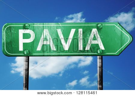 Pavia road sign, 3D rendering, vintage green with clouds backgro