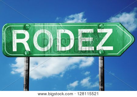 rodez road sign, 3D rendering, vintage green with clouds backgro