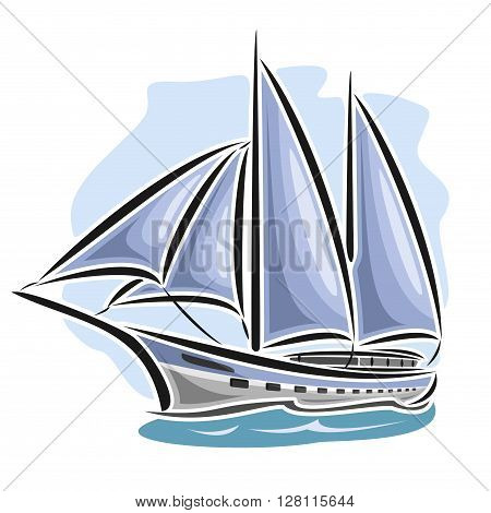 Vector logo sailing yacht, sailboat, sailer, gaff tender, gaff yawl, bermuda ketch, sloop, ship, sailing, boat, floating blue sea, ocean, waves. Cartoon sailing boat, sea regatta, yachting sport poster