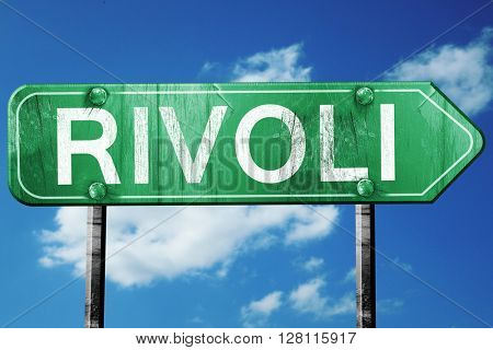 Rivoli road sign, 3D rendering, vintage green with clouds backgr