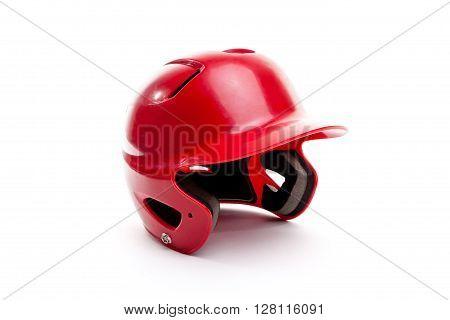 Red Baseball Or Softball Batting Helmet On White Background