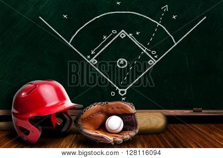 Baseball Equipment And Chalk Board Play Strategy