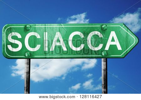 Sciacca road sign, 3D rendering, vintage green with clouds backg
