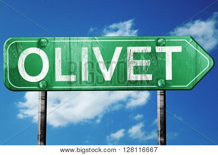 olivet road sign, 3D rendering, vintage green with clouds backgr