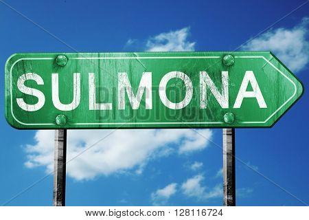 Sulmona road sign, 3D rendering, vintage green with clouds backg