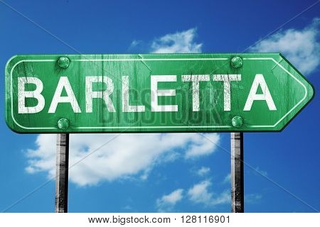Barletta road sign, 3D rendering, vintage green with clouds back