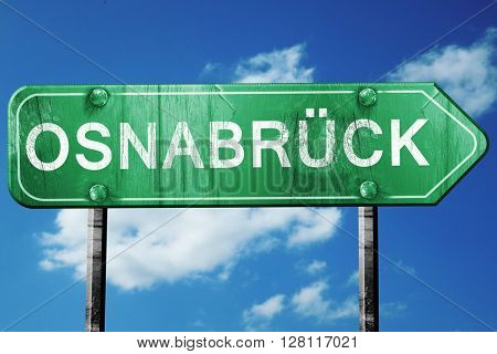 Osnabruck road sign, 3D rendering, vintage green with clouds bac