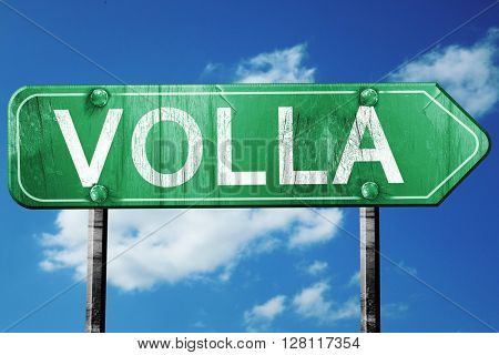 Volla road sign, 3D rendering, vintage green with clouds backgro
