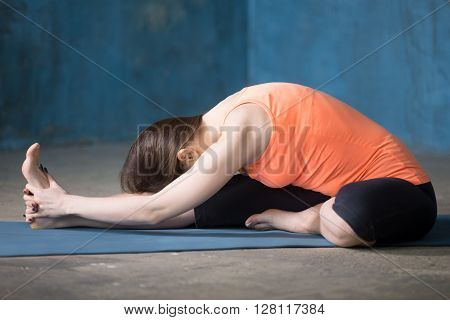 Beautiful young woman dressed in bright sportswear enjoying yoga indoors. Yogi girl working out in grunge interior with blue wall. Janu sirshasana or Head-to-Knee Forward Bend Pose poster